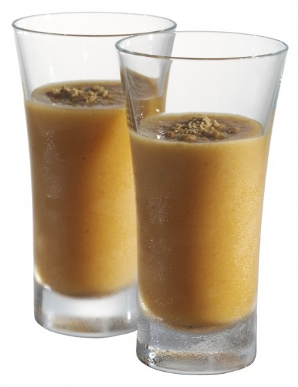 Picture of two Caramel Pumpkin Cheesecacke drink shot glasses
