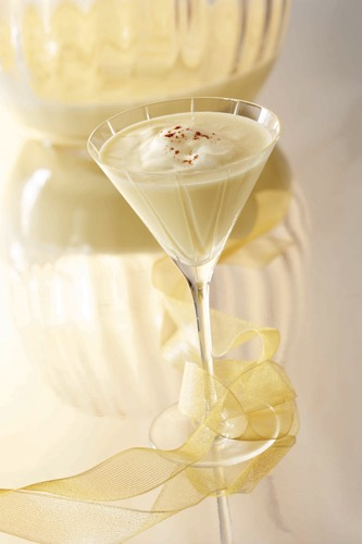 Picture of an Egg Nogg martini holiday cocktail glass